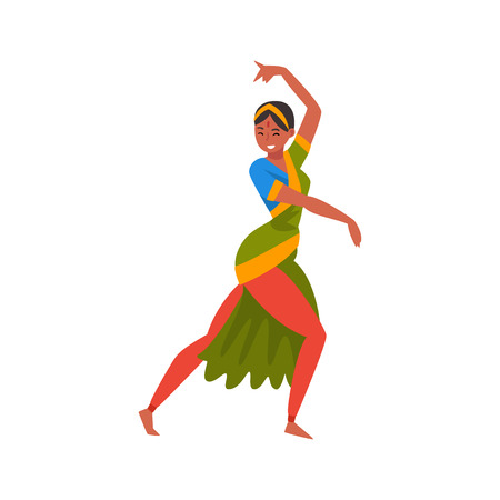 Young Woman Performing Folk Dance, Indian Dancer in Traditional Clothes Vector Illustration Illustration