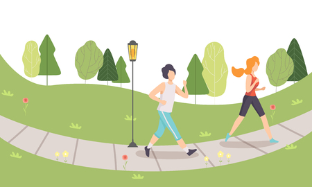 Man and Woman Running in Park, Jogging Couple, People Doing Physical Activities Outdoors, Healthy Lifestyle and Fitness Vector Illustration in Flat Style Ilustração