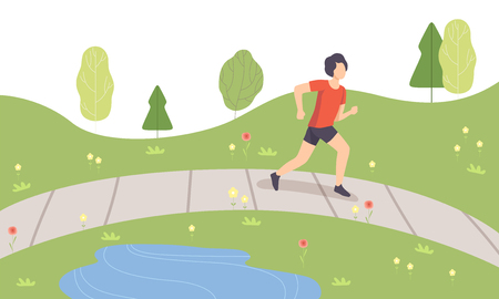 Young Man Running in Park, Guy Doing Physical Activities Outdoors, Healthy Lifestyle and Fitness Vector Illustration in Flat Style