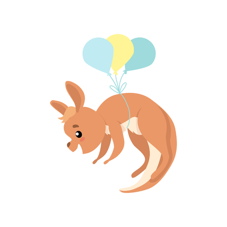 Cute Baby Kangaroo Flying with Balloons, Brown Wallaby Australian Animal Character Vector Illustration on White Background.