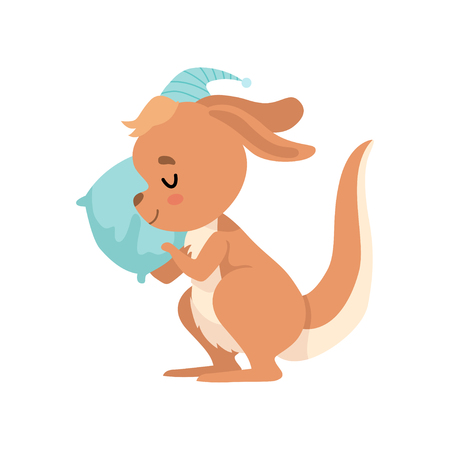 Cute Baby Kangaroo Sleeping with Pillow, Brown Wallaby Australian Animal Character Vector Illustration on White Background.
