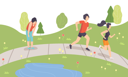 People Running in Park, Physical Activities Outdoors, Healthy Lifestyle and Fitness Vector Illustration in Flat Style Ilustração