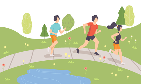 People Running in Park in Morning, Physical Activities Outdoors, Healthy Lifestyle and Fitness Vector Illustration in Flat Style Ilustração