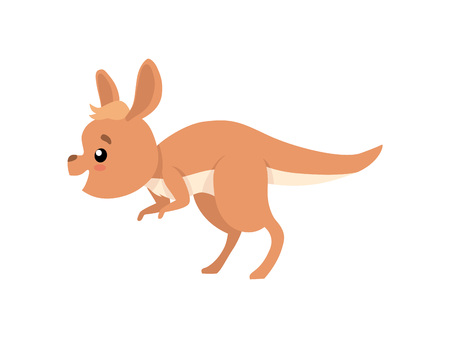 Cute Baby Kangaroo, Funny Brown Wallaby Australian Animal Character Jumping Vector Illustration on White Background.