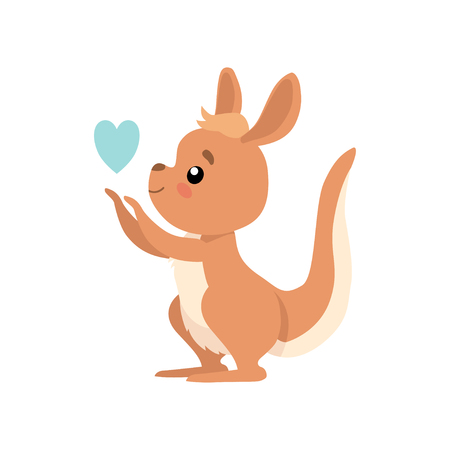 Cute Baby Kangaroo with Heart, Brown Wallaby Australian Animal Character Vector Illustration on White Background.