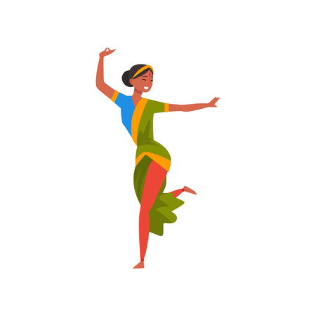 Indian Dancer in Green Traditional Sari, Beautiful Smiling Young Woman Performing Folk Dance Vector Illustration