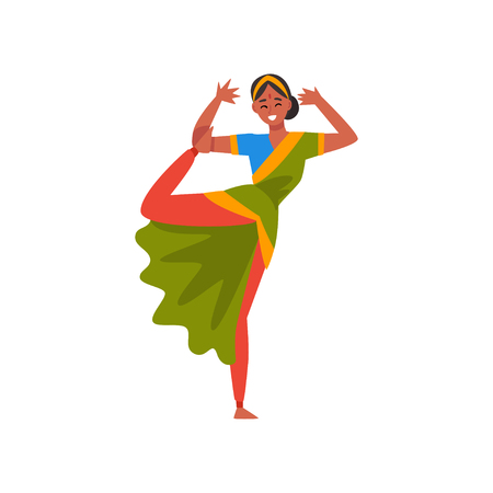 Indian Dancer in Traditional Sari, Beautiful Young Woman Performing Dance Vector Illustration Illustration