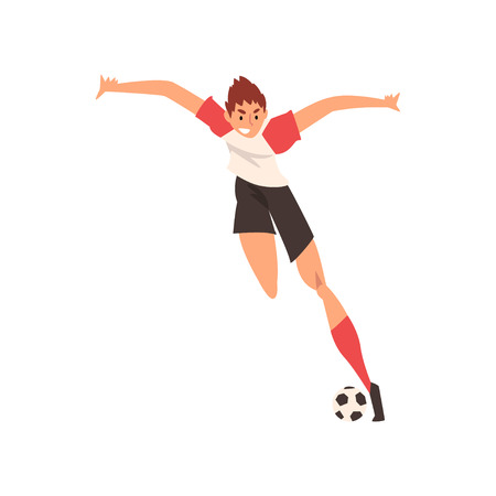 Professional Soccer Player Shooting Ball Quickly, Football Player Character in Uniform Training and Practicing Soccer Vector Illustration on White Background.