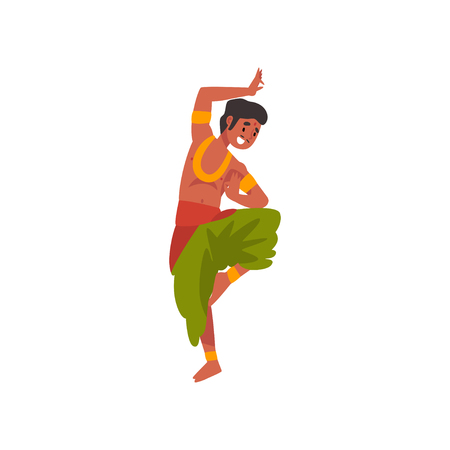 Young Indian Man Performing Folk Dance in Traditional Clothes Vector Illustration