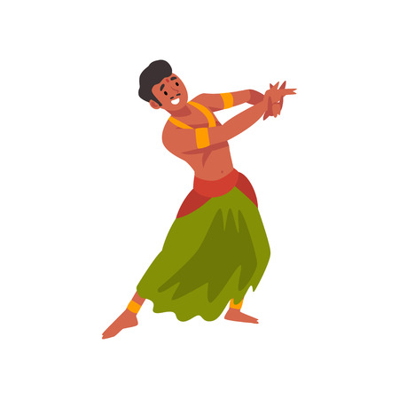 Smiling Young Indian Man Performing Folk Dance in Traditional Clothes Vector Illustration