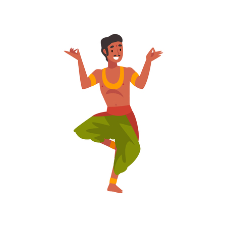 Male Indian Dancer in Traditional Clothes, Smiling Man Performing Folk Dance Vector Illustration