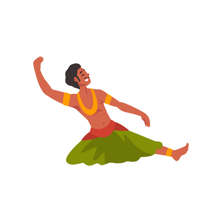 Male Indian Dancer Character in Traditional Clothes, Young Smiling Man Performing Folk Dance Vector Illustration