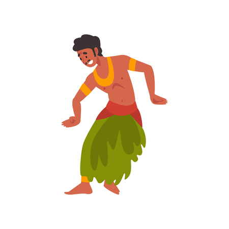 Young Man Performing Folk Dance, Indian Dancer in Traditional Clothes Vector Illustration