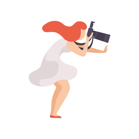 Beautiful Woman Taking Photo with Sir Camera, Female Photographer Character Vector Illustration on White Background.