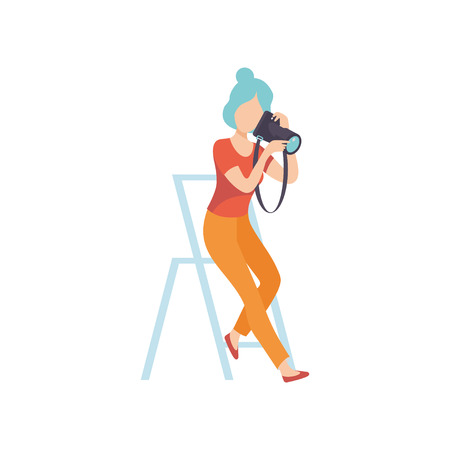 Woman Taking Photos with Camera, Female Professional Photographer Character Sitting on Chair with Camera in Studio Vector Illustratio