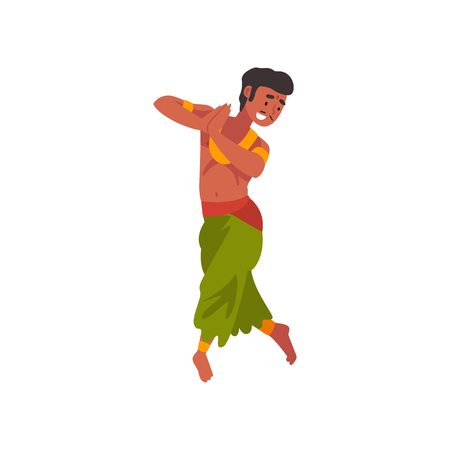Indian Dancer Character in Traditional Clothes, Young Man Performing Folk Dance Vector Illustration