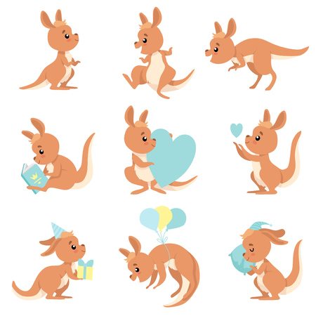 Cute Baby Kangaroo Set, Brown Wallaby Australian Animal Character in Different Situations Vector Illustration on White Background.