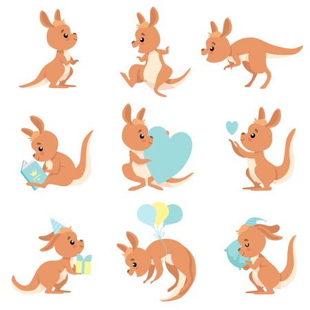 Ensemble mignon bébé kangourou, personnage animal australien Wallaby brun dans différentes situations Illustration vectorielle sur fond blanc. Vecteurs