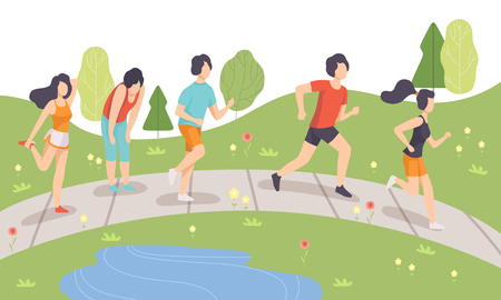 People Running in Park, Young Men and Women Doing Physical Activities Outdoors, Healthy Lifestyle and Fitness Vector Illustration in Flat Style Illustration