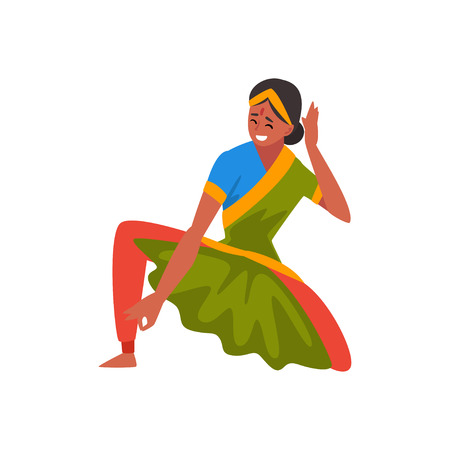 Female Indian Dancer in Traditional Clothes, Beautiful Smiling Woman Performing Folk Dance Vector Illustration