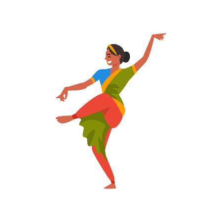 Indian Dancer Character in Green Traditional Clothes, Beautiful Smiling Young Woman Performing Folk Dance Vector Illustration Illustration