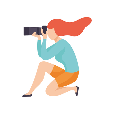 Girl Squatting Taking Photo with Sir Camera, Female Professional Photographer Character Vector Illustration on White Background. Illustration