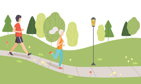 Young Man and Woman Running in Park, People Jogging, Physical Activities Outdoors, Healthy Lifestyle and Fitness Vector Illustration in Flat Style Illustration