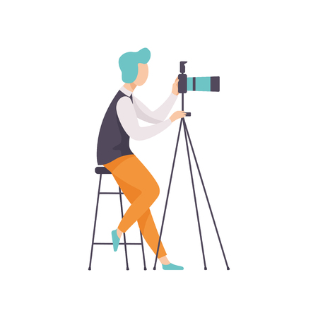 Male Photographer Taking Photo Using Professional Equipment in Studio, Cameraman Character Making Picture Vector Illustration on White Background. Illustration