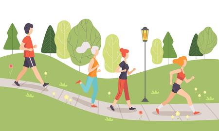 Mensen rennen en joggen in het park, fysieke activiteiten buitenshuis, gezonde levensstijl en fitness vectorillustratie in vlakke stijl
