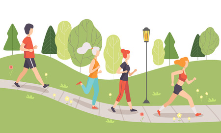 People Running and Jogging in Park, Physical Activities Outdoors, Healthy Lifestyle and Fitness Vector Illustration in Flat Style Archivio Fotografico - 116572432