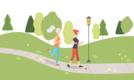 Young Women Running Jogging in Park, Girls Doing Physical Activities Outdoors, Healthy Lifestyle and Fitness Vector Illustration in Flat Style