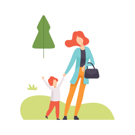 Mother and Her Son Walking in Summer Park, Young Woman and Boy Relaxing and Enjoying Nature Outdoors Vector Illustration on White Background.