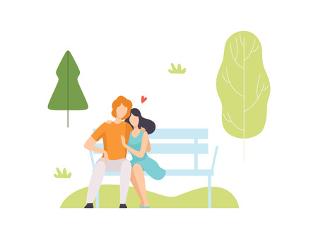 Young Man and Woman Sitting on Bench in Park, People Relaxing and Enjoying Nature Outdoors Vector Illustration on White Background.