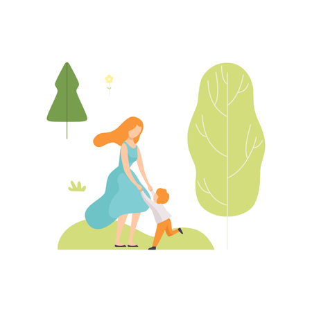 Mother and Her Son Having Fun in Summer Park, Young Woman and Boy Relaxing and Enjoying Nature Outdoors Vector Illustration on White Background.