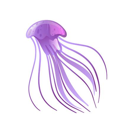 Jellyfish, Beautiful Purple Swimming Marine Underwater Creature Vector Illustration on White Background.