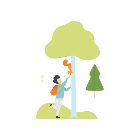 Cute Boy Walking and Feeding Squirrel in Summer Park, Girl Relaxing and Enjoying Nature Outdoors Vector Illustration on White Background. Illustration