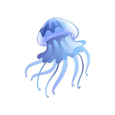 Jellyfish, Beautiful Light Blue Swimming Marine Underwater Creature Vector Illustration
