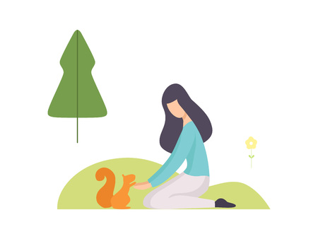 Young Woman Feeding Squirrel in Summer Park, Girl Relaxing and Enjoying Nature Outdoors Vector Illustration on White Background. Illustration