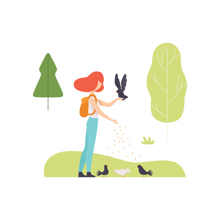 Young Woman Feeding Birds in Park, Girl Relaxing and Enjoying Nature Outdoors Vector Illustration