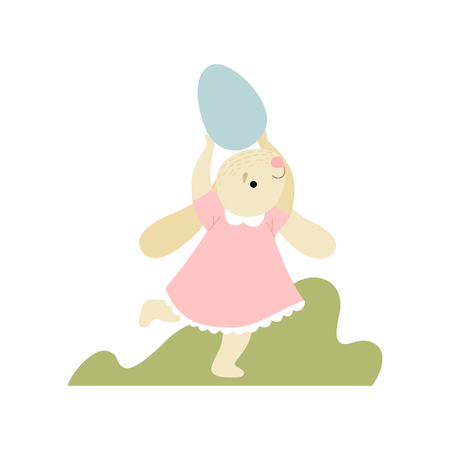 Cute Bunny in Pink Dress Running with Egg, Happy Easter, Design Element for Greeting Card, Invitation, Poster, Banner Vector Illustration