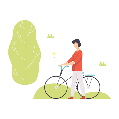 Young Man Walking with Bike in Park, Guy Relaxing and Enjoying Nature Outdoors Vector Illustration on White Background.