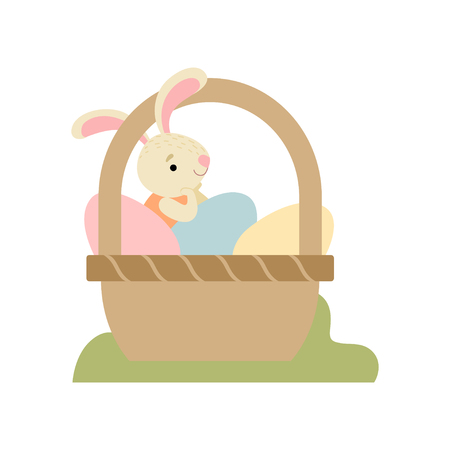 Cute Bunny Sitting in Basket Full of Decorated Eggs, Happy Easter, Design Element for Greeting Card, Invitation, Poster, Banner Vector Illustration on White Background.