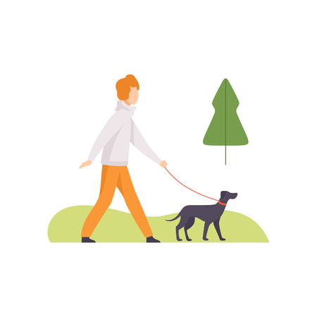Young Man Walking with His Dog in Park, Girl Relaxing and Enjoying Nature Outdoors Vector Illustration on White Background.