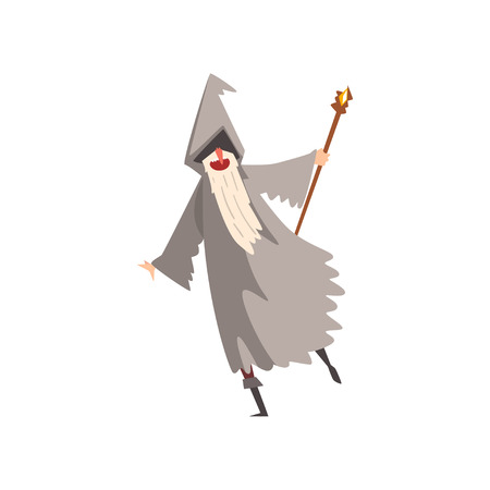 Elderly Male Sorcerer with Magic Staff, Bearded Wizard Character Wearing Mantle and Pointed Hat Vector Illustration on White Background.
