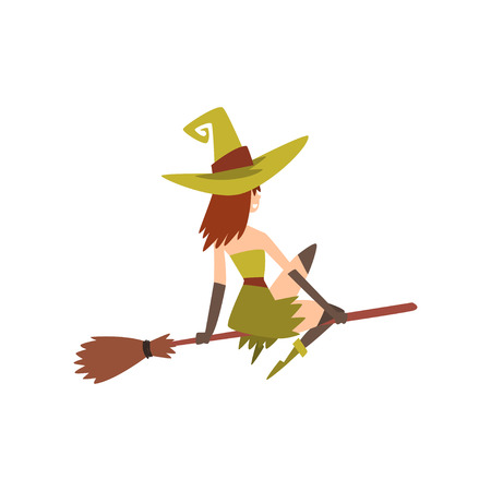 Beautiful Witch Flying on Broom, Charming Witch Character Vector Illustration on White Background. Illustration