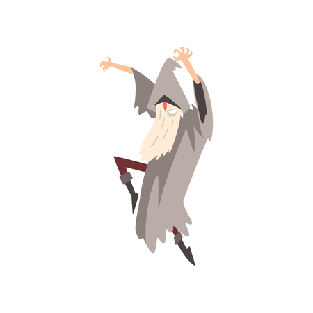 Elderly Male Sorcerer Sorcerer Conjuring, Bearded Wizard Character Wearing Mantle and Pointed Hat Vector Illustration on White Background. Illustration