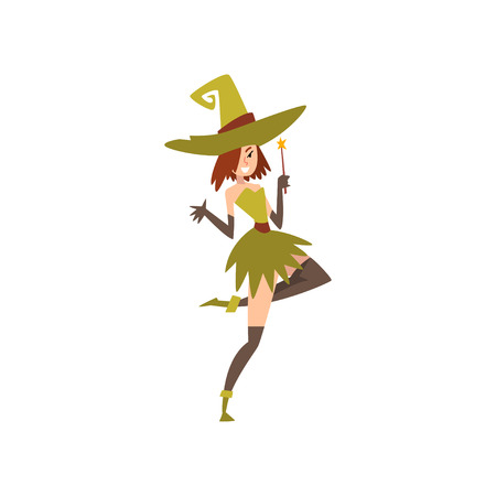 Beautiful Witch with Magic Wand, Charming Witch Character Vector Illustration on White Background.