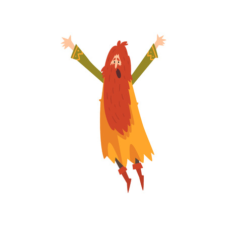 Male Sorcerer, Redhead Bearded Wizard Character Practicing Wizardry Vector Illustration on White Background.