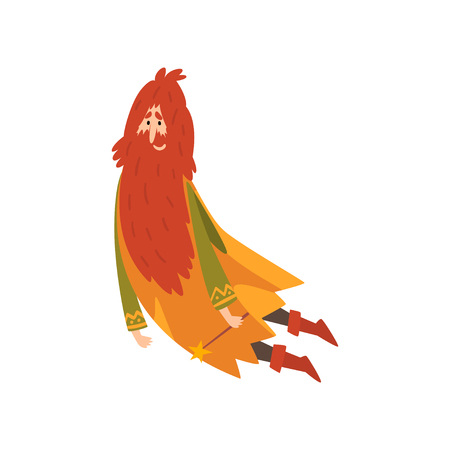 Redhead Bearded Sorcerer, Wizard Character Vector Illustration on White Background. Illustration