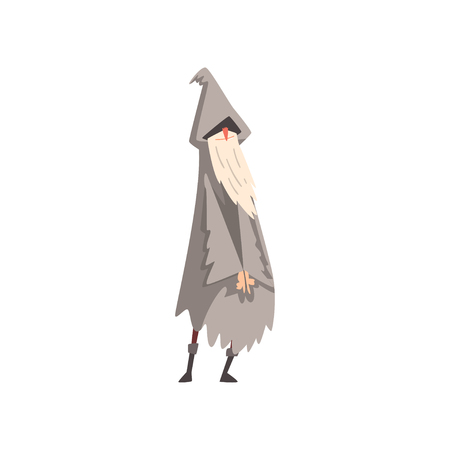 Elderly Male Sorcerer, Gray Bearded Wizard Character Wearing Mantle and Pointed Hat Vector Illustration on White Background.